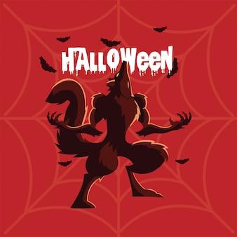 Wściekły wilk wyje z etykietą halloween