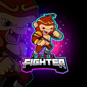 Wściekły wojownik małpa maskotka esportowa ilustracja