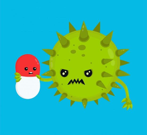 Wściekły zły bakteria wirus mikroorganizmów zabija pigułkę antybiotykową. ikona ilustracja kreskówka płaski charakter. pigułka, zdrowie, antybiotyk medyczny, lek, wirus oporny