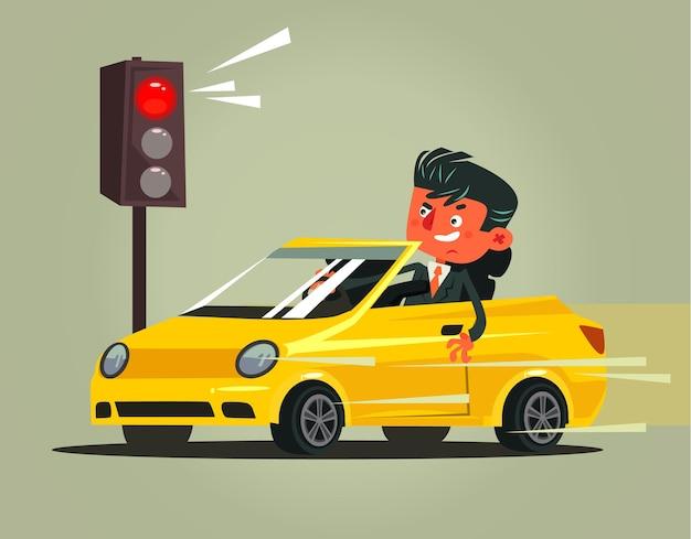 Wściekły, zły, pędzący kierowca, człowiek, postać, hamujący, naruszający, niskie zasady, i jeżdżący na czerwonym świetle
