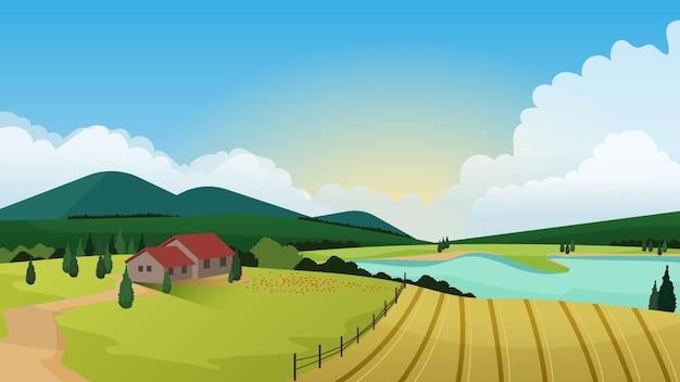 Wsi piękny krajobraz z domem