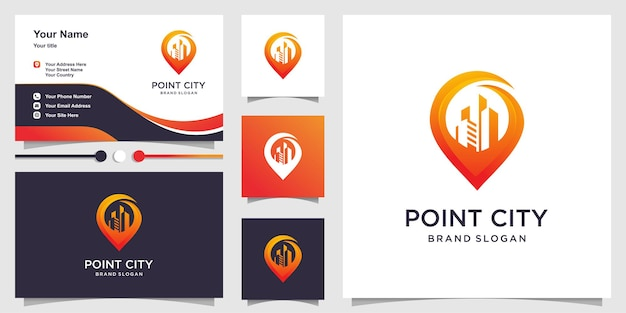 Wskaż logo miasta z nowoczesną koncepcją gradientu i szablonem wizytówek premium wektor