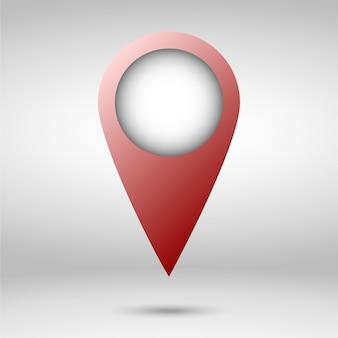 Wskaźnik czerwony mapę na białym tle