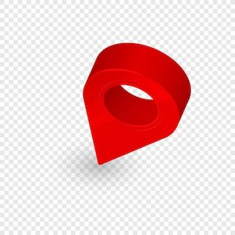 Wskaźnik lokalizacji mapy strzałka 3d ikona nawigacji dla logo banera internetowego lub plakietki w stylu 3d