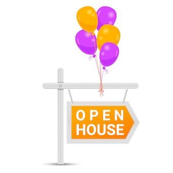 Wskaźnik otwartego domu z balonami