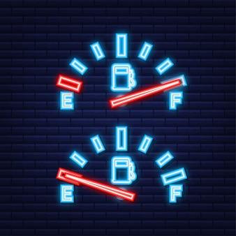 Wskaźnik paliwa. ilustracja na czarnym tle do projektowania, pusta energia. neonowa ikona. ilustracja wektorowa.