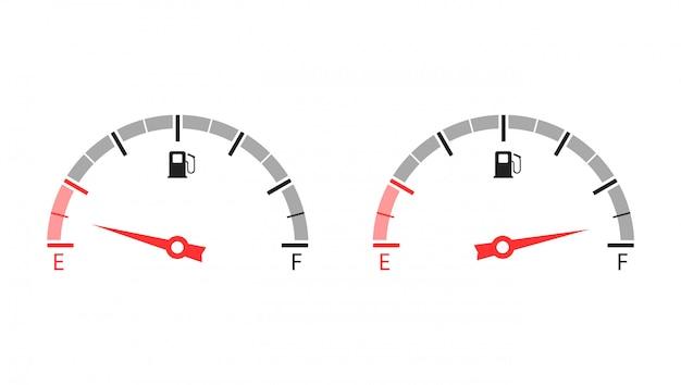 Wskaźnik poziomu paliwa. pusty i pełny zbiornik paliwa. ilustracja