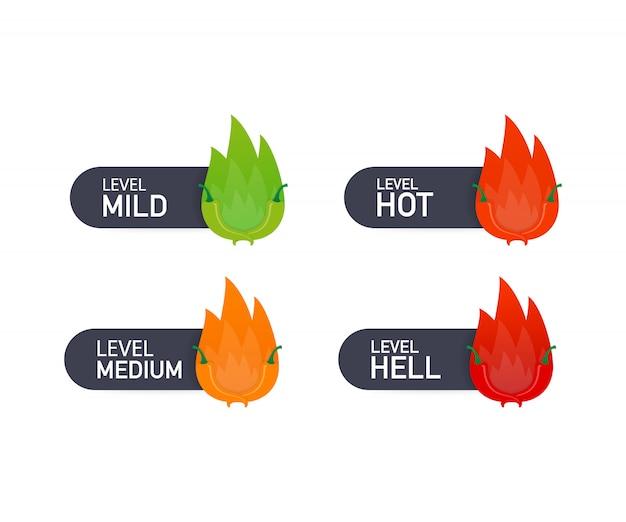 Wskaźnik skali ostrości czerwonej papryki z pozycjami łagodną, średnią, gorącą i piekielną. ilustracja.
