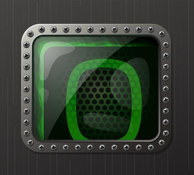 Wskaźnik wyładowania lampy wyświetlający cyfrę 0 ze świecącą zieloną poświatą neonową