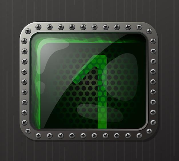 Wskaźnik wyładowania lampy wyświetlający cyfrę 1 ze świecącą zieloną poświatą neonową