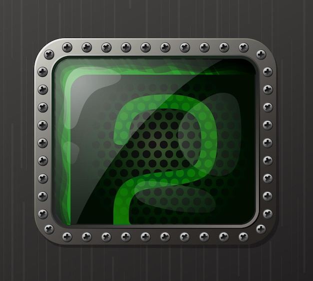 Wskaźnik wyładowania lampy wyświetlający cyfrę 2 ze świecącą zieloną poświatą neonową