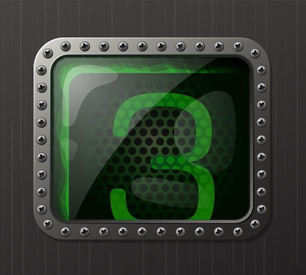Wskaźnik wyładowania lampy wyświetlający cyfrę 3 ze świecącą zieloną poświatą neonową