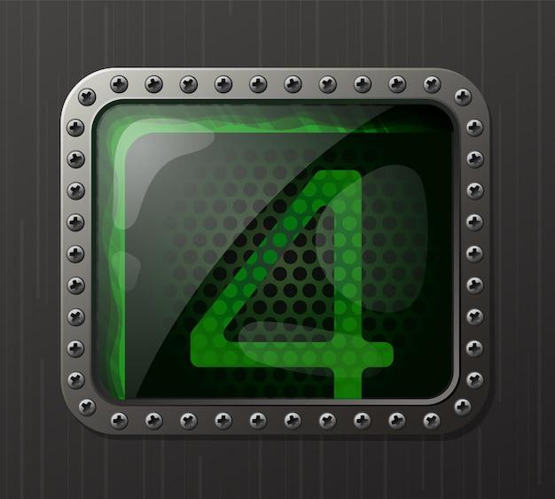 Wskaźnik wyładowania lampy wyświetlający cyfrę 4 ze świecącą zieloną poświatą neonową