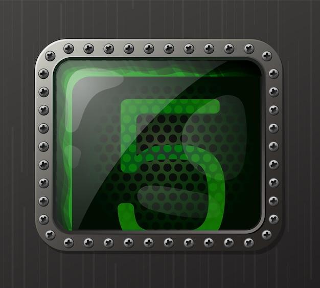 Wskaźnik wyładowania lampy wyświetlający cyfrę 5 z świecącą zieloną poświatą neonową