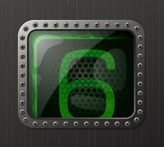 Wskaźnik wyładowania lampy wyświetlający cyfrę 6 ze świecącą zieloną poświatą neonową
