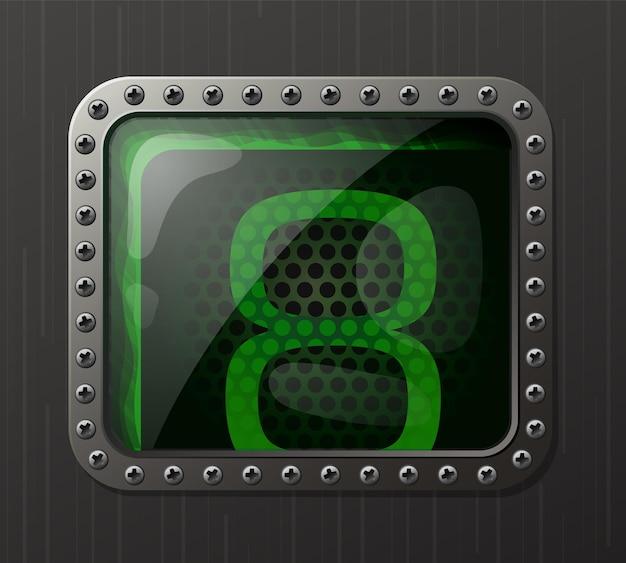 Wskaźnik wyładowania lampy wyświetlający cyfrę 8 ze świecącą zieloną poświatą neonową