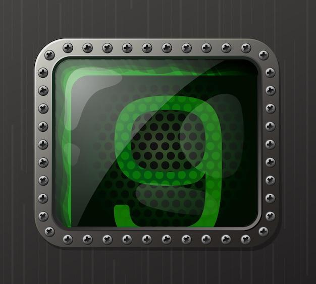 Wskaźnik wyładowania lampy wyświetlający cyfrę 9 z świecącą zieloną poświatą neonową