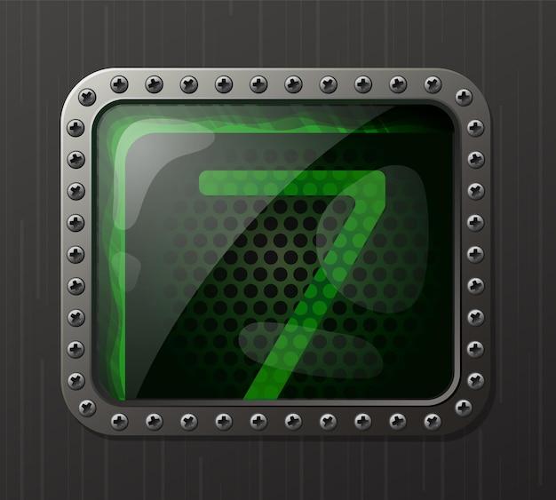 Wskaźnik wyładowania lampy wyświetlający liczbę 7 ze świecącą zieloną poświatą neonową