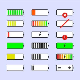 Wskaźniki poziomu naładowania baterii. brak sygnału