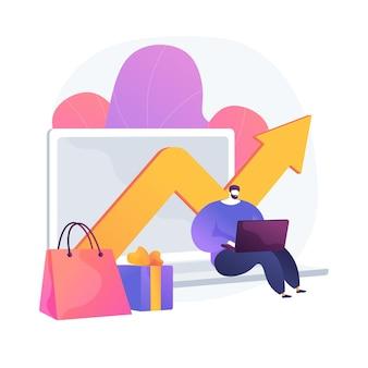Wskaźniki przychodów firmy. kupowanie prezentów, wzrost sprzedaży, analiza zysków firmy. kierownik sklepu internetowego analizujący dochody. mężczyzna obliczający wydatki kapitałowe. ilustracja wektorowa na białym tle koncepcja metafora