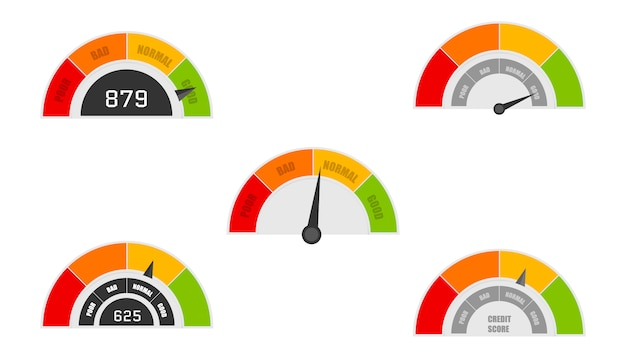 Wskaźniki zdolności kredytowej z poziomami kolorów od złych do dobrych. miernik wiarygodności kredytowej dobry i zły, wskaźnik kredytu. wektor