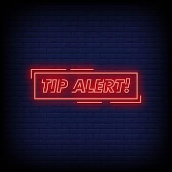 Wskazówka alert neon style tekst z prostokątem