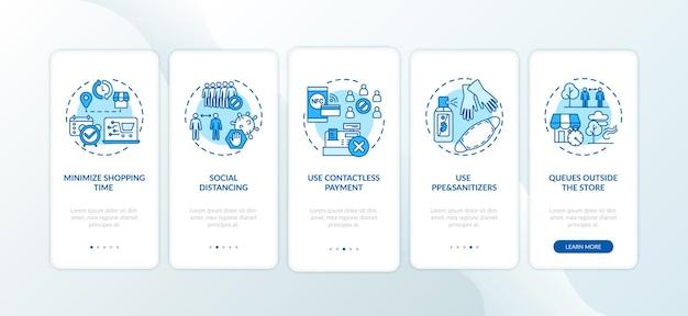 Wskazówki dotyczące bezpiecznych zakupów na ekranie strony aplikacji mobilnej z koncepcjami