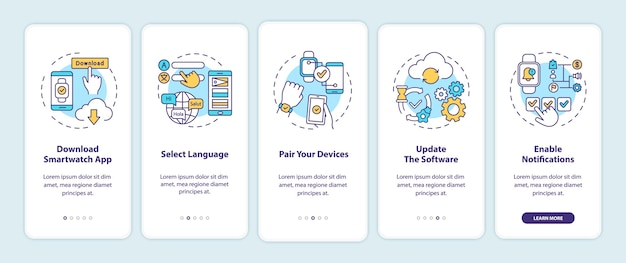 Wskazówki dotyczące konfiguracji inteligentnego zegarka wprowadzające ekran strony aplikacji mobilnej z koncepcjami.