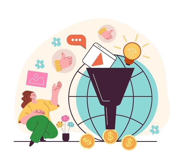 Wskazówki dotyczące monetyzacji oceniają strategię i przyciągają obserwujących w mediach społecznościowych i dochody pieniężne projekt graficzny ilustracja kreskówka w nowoczesnym stylu