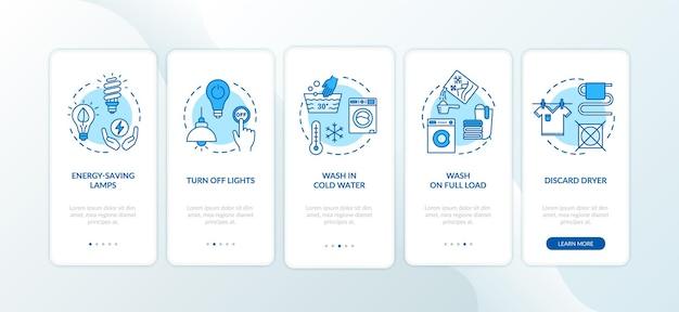 Wskazówki dotyczące oszczędzania energii na ekranie strony aplikacji mobilnej z koncepcjami. zużywając mniej wody i energii elektrycznej, przejdź do pięciu kroków instrukcji graficznych. szablon wektorowy interfejsu użytkownika z kolorowymi ilustracjami rgb