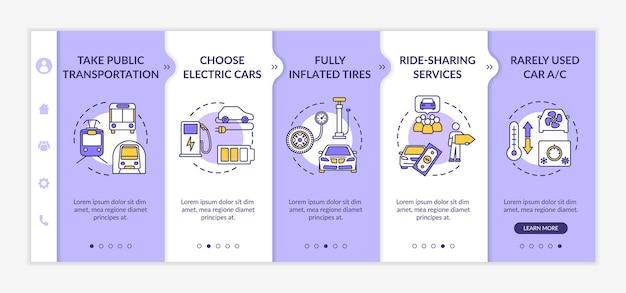 Wskazówki dotyczące oszczędzania paliwa — szablon wektora dołączania. ochrona środowiska, oszczędność pieniędzy na podróże. responsywna strona mobilna z ikonami. ekrany kroków przewodnika po stronie internetowej. koncepcja kolorów rgb