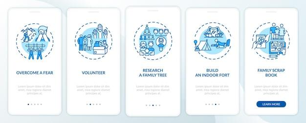 Wskazówki dotyczące tworzenia więzi rodzinnych na ekranie strony aplikacji mobilnej z koncepcjami. zbadaj opis przejścia drzewa genealogicznego w 5 krokach. szablon ui z kolorowymi ilustracjami rgb