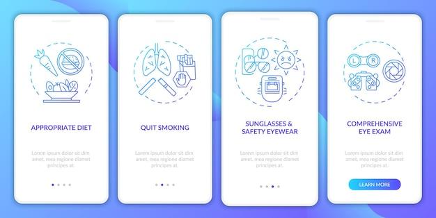 Wskazówki dotyczące zdrowia oczu wprowadzające na ekran strony aplikacji mobilnej z koncepcjami