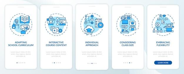 Wskazówki dydaktyczne online, przedstawiające ekran strony aplikacji mobilnej z koncepcjami. interaktywna prezentacja treści kursu 5-etapowa instrukcja graficzna. szablon ui z kolorowymi ilustracjami rgb