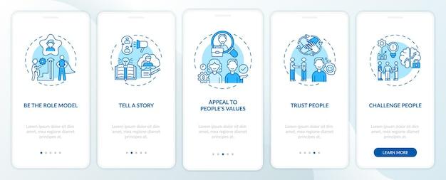 Wskazówki, jak motywować ludzi wprowadzających ekrany aplikacji mobilnej za pomocą pojęć. opowiadanie historii motywacyjnej opis przejścia 5 kroków graficznych instrukcji. szablon ui z kolorowymi ilustracjami rgb