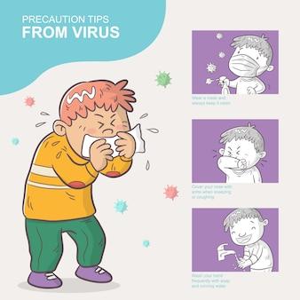 Wskazówki ostrożności od wirusa, ilustracja kreskówka, plansza
