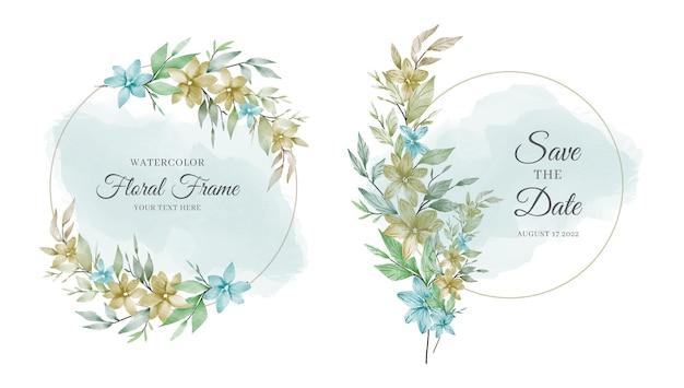 Wspaniała akwarelowa karta zaproszenie na ślub kwiatowy zestaw z kwiatami i liśćmi