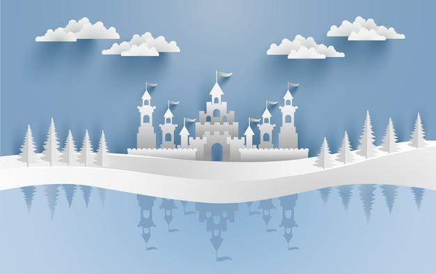 Wspaniała ilustracja zamku w zimie na wzgórzu. wesołych świąt. projektowanie papieru i rzemiosła