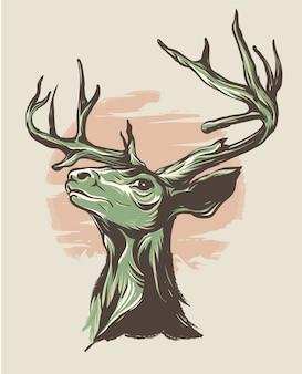 Wspaniała jelenia ilustracja z księżyca tłem