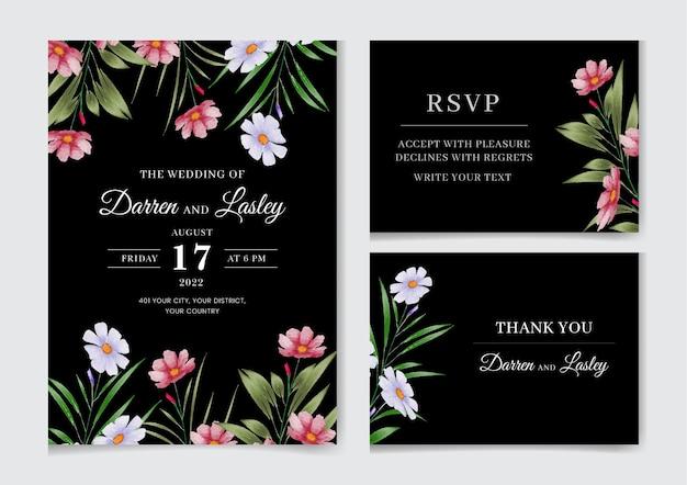 Wspaniała karta zaproszenie na ślub z kwiatami i liśćmi