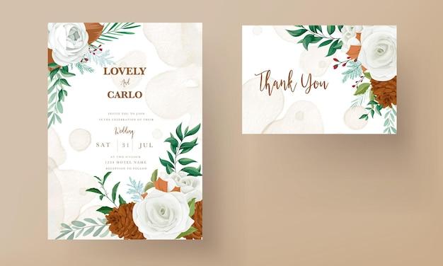Wspaniała karta zaproszenie na ślub z zielonymi liśćmi białej róży i kwiatem sosny