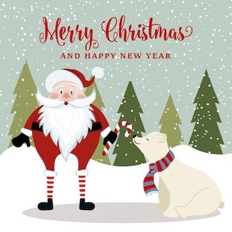 Wspaniała kartka świąteczna z mikołajem i niedźwiedziem polarnym. plakat świąteczny. wektor