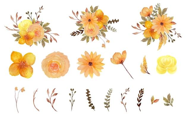 Wspaniała kolekcja pojedynczych kwiatów akwarela żółty i brązowy