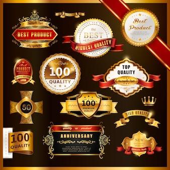 Wspaniała kolekcja złotych etykiet najwyższej jakości na czarno
