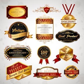 Wspaniała kolekcja złotych etykiet premium w kolorze szarym