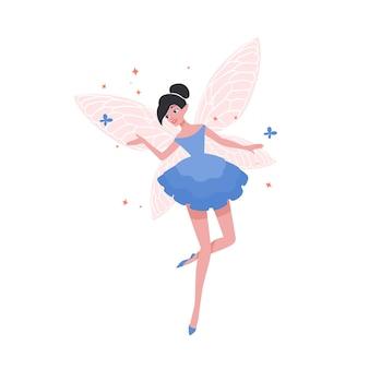 Wspaniała latająca wróżka lub baletnica w eleganckiej sukience i ze skrzydłami motyla na białym tle. bajkowa istota, magiczna postać z folkloru. ilustracja wektorowa kreskówka płaski.
