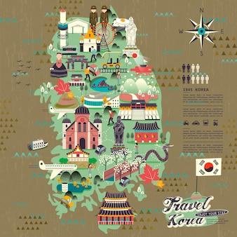 Wspaniała mapa podróży do korei południowej z projektem atrakcji