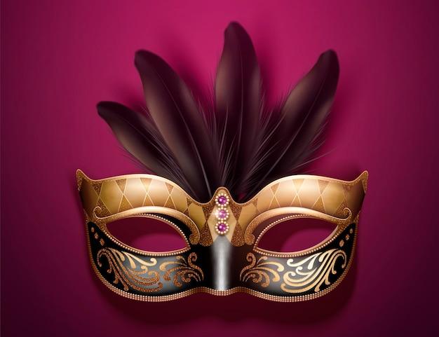 Wspaniała maska z piórami w 3d ilustracji na bordowym fioletowym tle