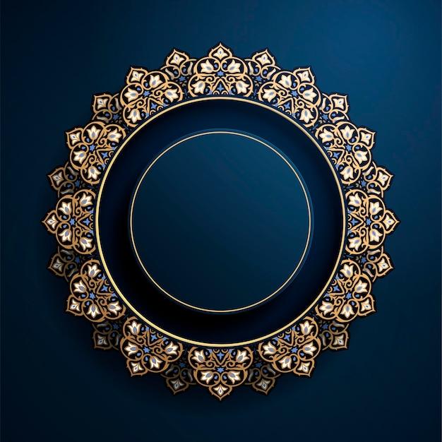 Wspaniała okrągła arabeska rama w kolorze niebieskim i brązowym