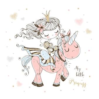 Wspaniała śliczna księżniczka jeździ na różowym jednorożcu.